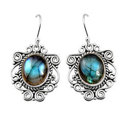 11.21cts natural blue labradorite 925 sterling silver dangle earrings p93545