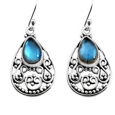 4.92cts natural blue labradorite 925 sterling silver dangle earrings p93547
