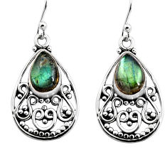 925 sterling silver 4.90cts natural blue labradorite dangle earrings p93548