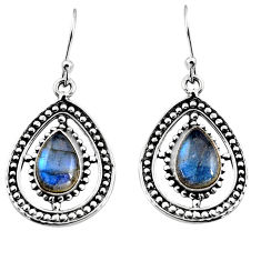 5.13cts natural blue labradorite 925 sterling silver dangle earrings p93549