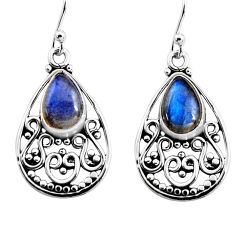 4.73cts natural blue labradorite 925 sterling silver dangle earrings p93556