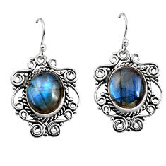 925 sterling silver 10.89cts natural blue labradorite dangle earrings p93558