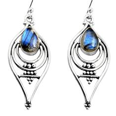 4.74cts natural blue labradorite 925 sterling silver dangle earrings p93560