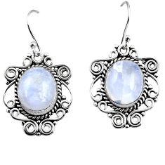 11.22cts natural rainbow moonstone 925 sterling silver dangle earrings p93621