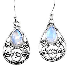 4.94cts natural rainbow moonstone 925 sterling silver dangle earrings p93622