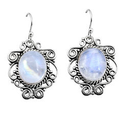 11.54cts natural rainbow moonstone 925 sterling silver dangle earrings p93629
