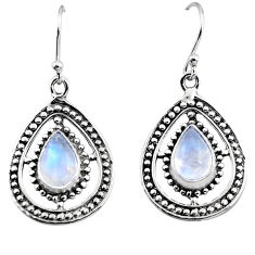 925 sterling silver 4.78cts natural rainbow moonstone dangle earrings p93632
