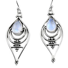 4.73cts natural rainbow moonstone 925 sterling silver dangle earrings p93633