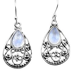 925 sterling silver 4.17cts natural rainbow moonstone dangle earrings p93636