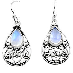 4.53cts natural rainbow moonstone 925 sterling silver dangle earrings p93638