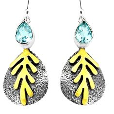 925 sterling silver 4.12cts natural blue topaz 14k gold dangle earrings p93924