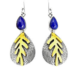 4.12cts natural blue lapis lazuli 925 silver 14k gold dangle earrings p93933