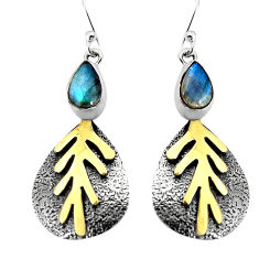 3.84cts natural blue labradorite 925 silver 14k gold dangle earrings p93938