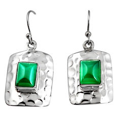 6.02cts natural green chalcedony 925 sterling silver dangle earrings p94006