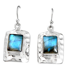 925 sterling silver 6.73cts natural blue labradorite dangle earrings p94016