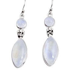 925 sterling silver 17.96cts natural rainbow moonstone dangle earrings p94171