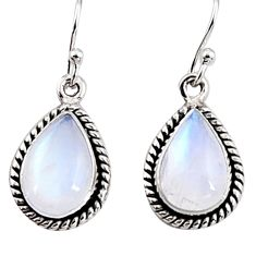 925 sterling silver 8.08cts natural rainbow moonstone dangle earrings p94327
