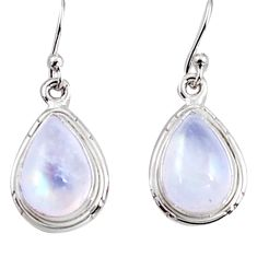 8.66cts natural rainbow moonstone 925 sterling silver dangle earrings p94329
