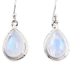 7.67cts natural rainbow moonstone 925 sterling silver dangle earrings p94341