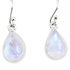 7.56cts natural rainbow moonstone 925 sterling silver dangle earrings p94342