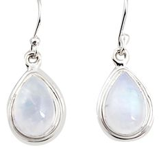 7.97cts natural rainbow moonstone 925 sterling silver dangle earrings p94348