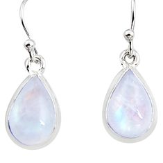925 sterling silver 7.52cts natural rainbow moonstone dangle earrings p94350