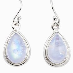 7.67cts natural rainbow moonstone 925 sterling silver dangle earrings p94351
