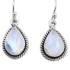 8.80cts natural rainbow moonstone 925 sterling silver dangle earrings p94352