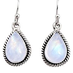 925 sterling silver 8.44cts natural rainbow moonstone dangle earrings p94353
