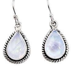 8.06cts natural rainbow moonstone 925 sterling silver dangle earrings p94359
