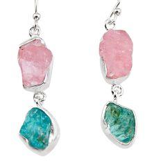 17.95cts natural pink morganite rough 925 silver dangle earrings p94741