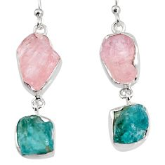 925 silver 16.49cts natural pink morganite rough dangle earrings jewelry p94747