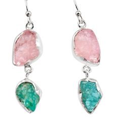 18.31cts natural pink morganite rough 925 silver dangle earrings p94751