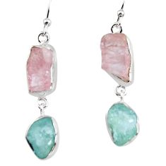 925 silver 15.55cts natural pink morganite rough fancy dangle earrings p94763