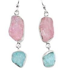 14.47cts natural pink morganite rough 925 silver dangle earrings p94766