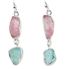 15.07cts natural pink morganite rough 925 silver dangle earrings p94769