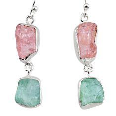 15.53cts natural pink morganite rough 925 silver dangle earrings p94770