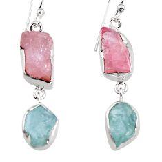 925 silver 15.55cts natural pink morganite rough dangle earrings p94774