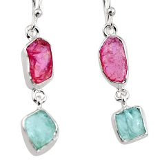 13.66cts natural pink tourmaline rough 925 silver dangle earrings p94777