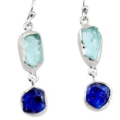 12.60cts natural aqua aquamarine rough 925 silver dangle earrings p94781