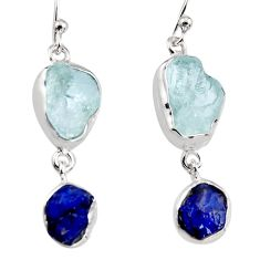 925 silver 14.47cts natural aqua aquamarine rough dangle earrings p94784