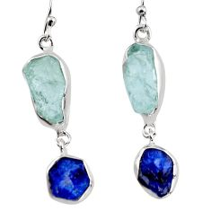 15.43cts natural aqua aquamarine rough 925 silver dangle earrings p94785