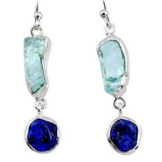 14.14cts natural aqua aquamarine rough 925 silver dangle earrings p94786