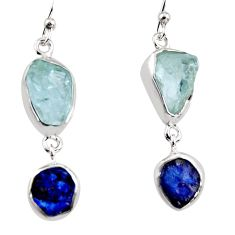 13.66cts natural aqua aquamarine rough 925 silver dangle earrings p94787