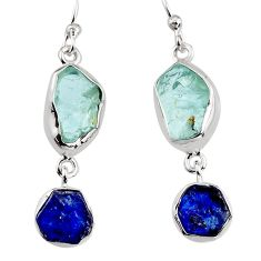 925 silver 13.03cts natural aqua aquamarine rough dangle earrings p94788