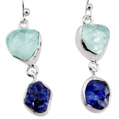 925 silver 14.14cts natural aqua aquamarine rough dangle earrings p94792