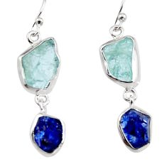 13.66cts natural aqua aquamarine rough 925 silver dangle earrings p94793