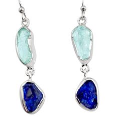 13.15cts natural aqua aquamarine rough 925 silver dangle earrings p94794