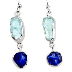13.18cts natural aqua aquamarine rough 925 silver dangle earrings p94795