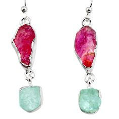 925 silver 15.02cts natural pink tourmaline rough dangle earrings p94796